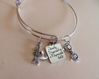 Sunglasses and  Hat Charms, Adjustable All Expandable Silver Plated Bangle  Bracelet, Quote Cleverly Disguised as a Responsible Adult Charm