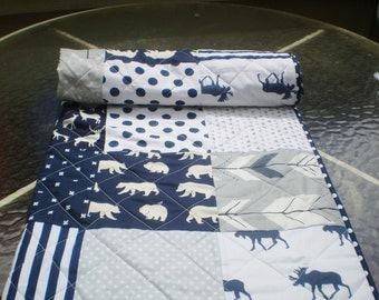 Handmade Baby quilt, baby boy bedding, baby girl quilt,navy grey crib bedding, woodland, deer, bear, moose, arrow, chevron-Into the Woods