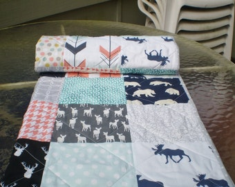 Baby quilt,Baby girl quilt,baby girl bedding,coral,grey,mint,deer,bear,moose,quilt,woodland,organic,chevron,arrows,toddler,Rustic in Coral