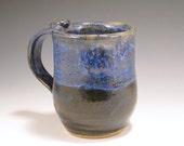 Pottery Mug (1) -  Blue and White - 8 oz.