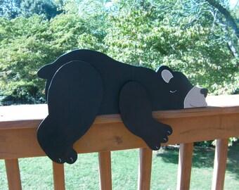 Black Bear Wood Shelf Sitter Rustic Cabin Home Lake House Nursery Child's Room Lodge or photo prop