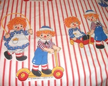 Vintage Raggedy Ann and Andy Bedsheets Childrens Bed Sheet Bedding