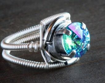 Steampunk Jewelry - Ring - Light Turquoise Glacier Blue Swarovski Crystal