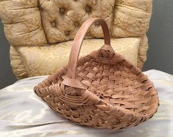 Antique Split Oak Flat Bottomed Tray Basket