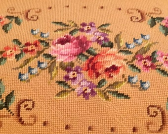 Antique Needlepoint With Roses Coral Peach Pink Cotton Velvet Pillow Case