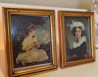 Vintage Western Germany Picture Set of 2 Girls Framed Picture Frame Mini Miniature