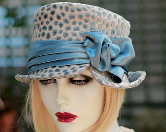 Womens Hat Downton Abbey Riding 1950s Bucket Steampunk Smoky Blue and Taupe Polka Dot Fabric