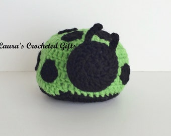 Crochet Stuffed Ladybug, Stuffed Ladybug, Green and Black Stuffed Ladybug, Crochet Plush Toy