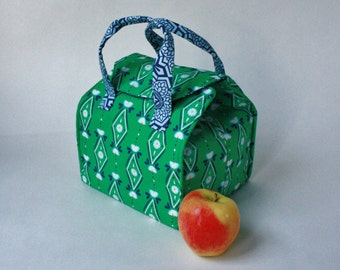 Insulated Bento Box Carrier / Lunch Tote / Lunch Bag - Reusable - Washable - In Green with Diamonds