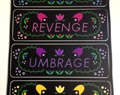 Notebook Labels--Schemes, Revenge, Umbrage, Enemies