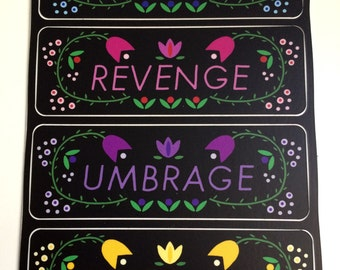 Notebook Labels--Schemes, Revenge, Umbrage, Enemies