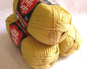 HONEY gold Red Heart Soft yarn, medium worsted weight acrylic yarn