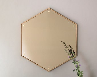 Hex Mirror - Waxed Oak Hexagon Mirror