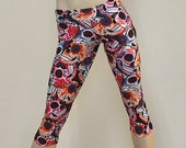 Hot Yoga Fitness Capri Pants Pink Sugar Skulls Low Rise SXYfitness Brand Item #8034 Sizes xxs-xxl (00-18 US)