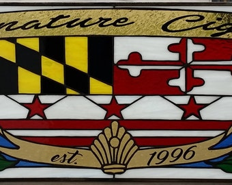 """Stained glass Panel - """"Signature Cigars"""" (P-56)"""