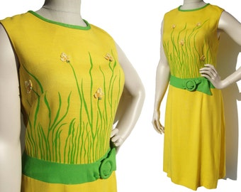 Vintage 60s Dress Yellow Linen Novelty Print Flower Applique M – Carol Brent