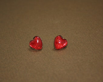 Earrings Nail Polish Ruby Red Glitter Heart with Brass Back - Studs Post