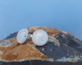 Large White Dichroic Glass Stud Post Earrings