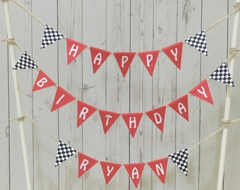 Racing Car Cake Topper ~ Racing Car Bunting ~ Boy Birthday Cake Topper ~ Male Birthday Cake Topper