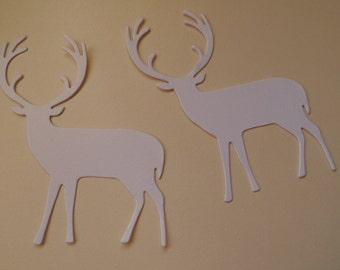 "Christmas  Standing REINDEER  gift tags white sparkle card & colour options x 10.  3"" x 4 at widest"