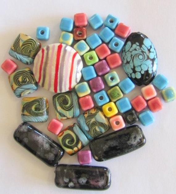 48 ceramic clay bead mix 1 1 2 inch purple rectangle 1 1 4