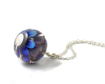 Violet Necklace   Purple and Indigo Lampwork Glass and Sterling Silver Pendant Style Necklace   UK Lampwork Jewellery