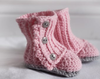 Soft Pink and Grey Crochet Baby Wrap Booties, Baby Boots, Baby Shoes, for Baby Girl