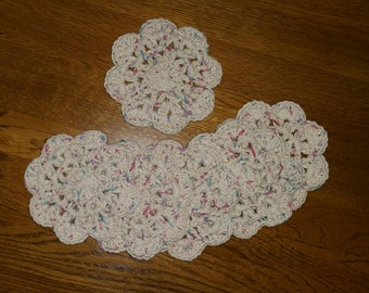 Crochet Cotton Coasters set of 6 in Off White with Flecks