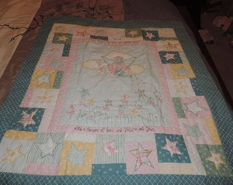 Kitty Angel  Baby Quilt. or Wall Hanging for a baby's room