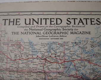 Vintage 1956 National Geographic Map of The United States