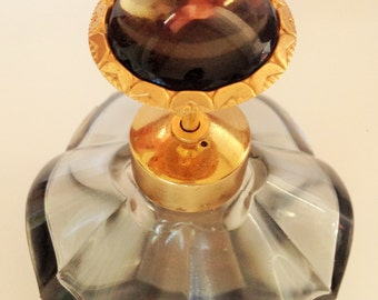 "Vintage Smoky Grey Glass Beaded Perfume Bottle, Pressed Glass Perfume Spray Bottle, Irice ""Style"" Perfume Bottle, Grey Glass Beaded Top"
