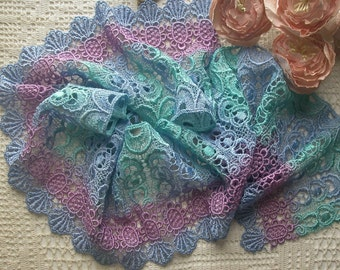 "5 1/4 "" Wide Hand Dyed Venise Lace, Trim Embellishment, Quilts, Sewing"
