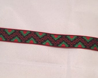 Vintage Jacquard Ribbon - Green & Red Geometric -2 yards-