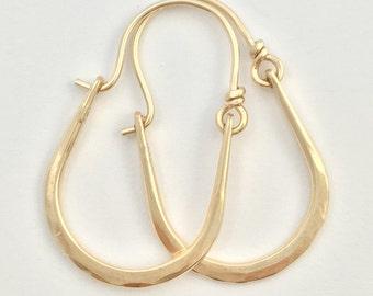 Julia Hammered Solid 14k Gold Hoops Earrings