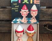 Mr. and Mrs. Pixie salt n' pepper shaker set 1960's NEVER USED!  In Original Box!