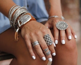 Chunky Boho Ring, Chunky Sterling Silver Rings, Boho Jewelry Chunky Ring, Chunky Boho Ring, Hippie Ring, Knit Crochet Wide Ring Boho Fashion