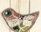 tattered embroidered hand stitched bird door hanger key hanger