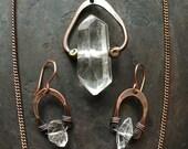 Herkimer Diamond Jewelry Set Healing Crystal Necklace Rustic Jewelry