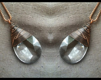 Chandelier Crystal Necklace Wire Wrap Crystal Rustic Jewelry DanielleRosBean Vintage Prism Long Necklace Statement Necklace