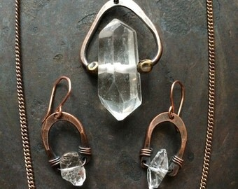 Herkimer Diamond Jewelry Set Healing Crystal Necklace Rustic Jewelry