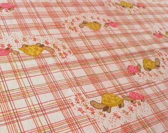 NOW ON SALE vintage fabric - two turtles - pink