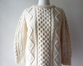 Alana sweater | vintage 80s cable knit | cream 1980s wool sweater