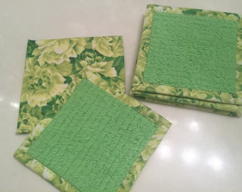 Coasters, Drink Mats, Home Accessory, Furniture Protectors, Home Decor, Green Chenille, Floral Cotton Print, Reversible Set of 6