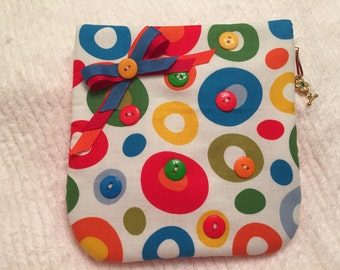 Gift Pouch, Zipper Gift Wrap, Reusable, Cosmetic Bag, Whimsical, Travel Pouch, Quilted Jewelry Bag,  Dr Suess Fabric, Accessory Bag, Circles