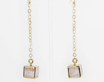 Loved To Death Crystal Cubes 24K Edged Long Earrings