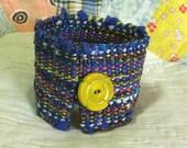 Handwoven Cuff, Bracelet, vintage button by Frederick Avenue