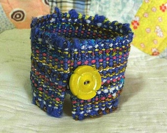 Handwoven Cuff, Bracelet, vintage button by Frederick Avenue