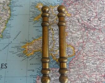 SALE! 2 slim vintage brass metal handles