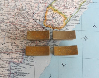 SALE! 4 small mid century distressed brass metal chunky handles