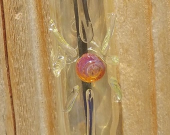 Hanging Glass Incense Burner with Amber Purple Center Sunburst Symbol 23